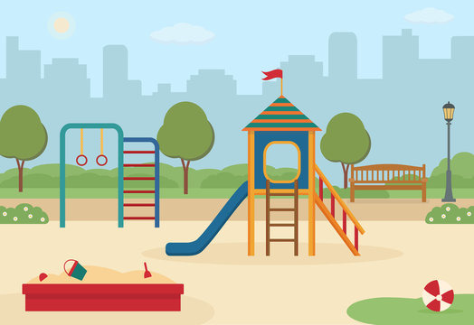 Children's playground in the city park with toys, a slide, a sandpit. Vector illustration.