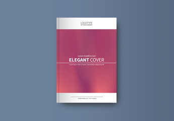 Book or Report Cover Layout with Pink Gradient 1