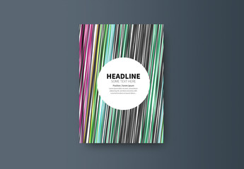 Book or Report Cover Layout with Multicolored Lines 1