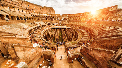 Fototapete - Inside the Colosseum or Coliseum in summer, Rome, Italy