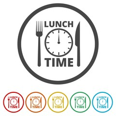 Time For Lunch, Flat Lunch Time icon, 6 Colors Included