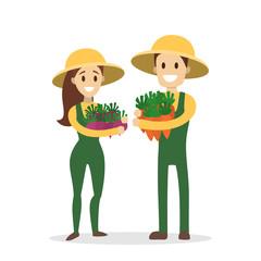 Isolated gardener couple.