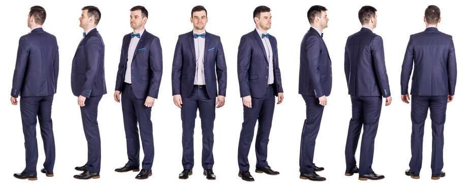 Full body of young handsome business man isolated on white background