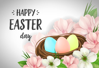 Happy Easter Day Lettering, Eggs in Nest