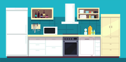 Cartoon kitchen interior with fridge, oven and other home cooking appliances vector illustration