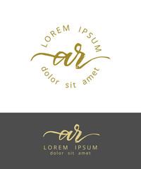 A R. Initials Monogram Logo Design. Dry Brush Calligraphy Artwork