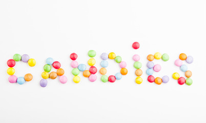 Colours Candy text white background