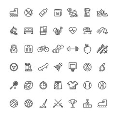 Sports fitness outline symbols. Sports equipment thin line vector icons