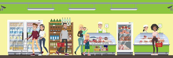 Supermarket interior illustration.