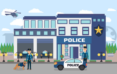 Illustration of police department with officers in uniform , cars and city landscape