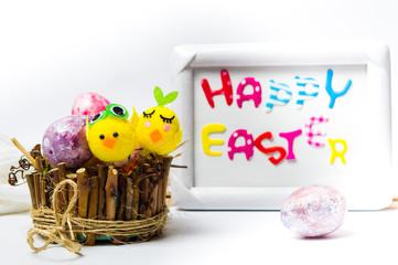 Happy Easter card with creative painted eggs