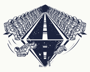 Astronauts in deep space tatto and t-shirt design. Universe research symbol, disembarkation to other planets. Astronaut team fly in space vector