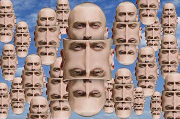 Surreal portrait of man. Surreal concept