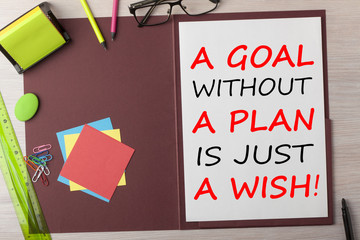 A Goal without a Plan is Just a Wish Concept