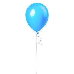 Light sky blue balloon isolated on a white background. Party decoration for celebrations and birthday