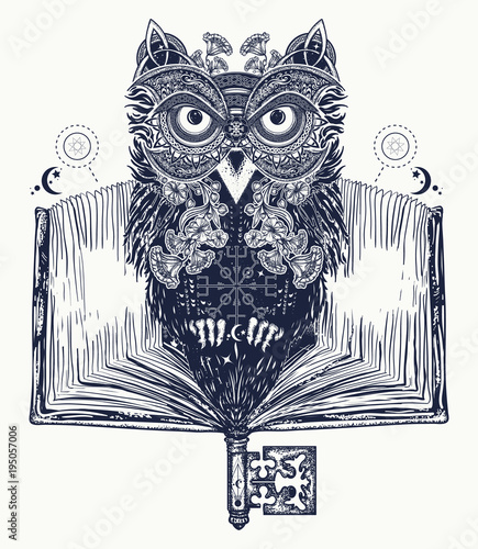 owl and open book tattoo and t shirt design symbol of education