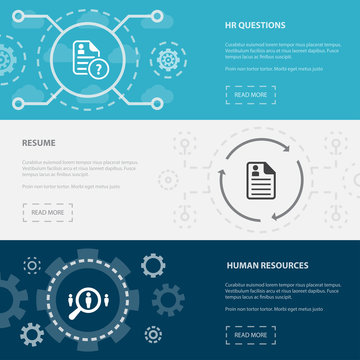 Human Resources 3 horizontal webpage banners template with hr questions, resume, human Resourсes concept. Flat modern isolated icons illustration.