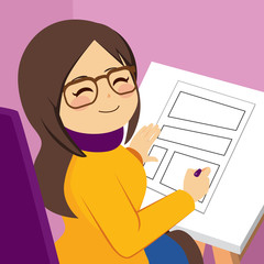 Cute happy professional woman illustrator artist drawing comic