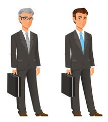 cartoon businessman in elegant grey suit
