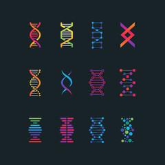Human dna research technology symbols. Spiral molecule medical bio tech vector icons