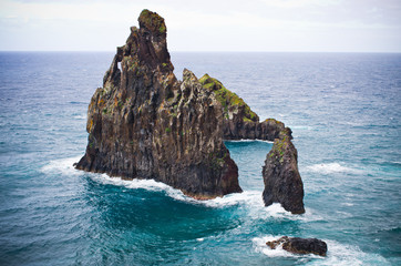 Dramatic rocks on coast of Madeira, Portugal