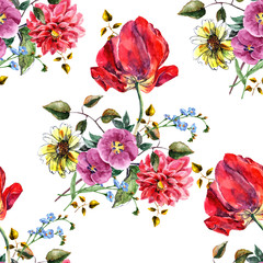 Watercolor bouquet flowers with tulip. Floral seamless pattern.
