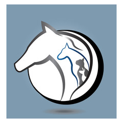 Logo horse, dog, cat and rabbit in a circle