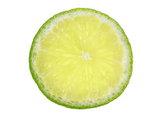 Slice of fresh lime on a white background. Top view.