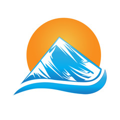 Logo blue mountains and sun icon vector