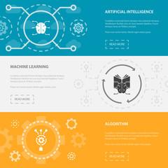 Artificial Intelligence 3 horizontal webpage banners template with Artificial Intelligence, Machine learning, Algorithm concept. Flat modern isolated icons illustration.