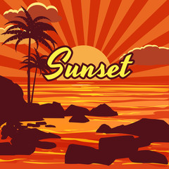 Tropical beautiful sunset, landscape, palms, sea, stones, vector, cartoon style, illustration isolated