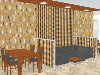 View of restaurant with a interior wall pattern with decorative wooden wallpaper. 3d illustration