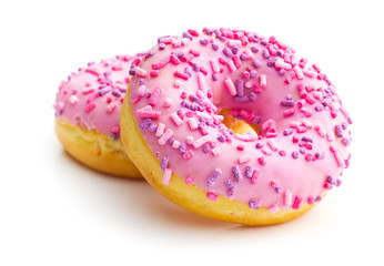 Pink sweet donuts.