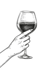 Hand holding a glass of wine.