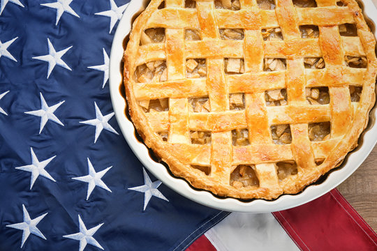 Delicious apple pie on American flag