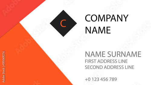 Flat Material Design Business Card Orange And Red Colors On White Background Simple