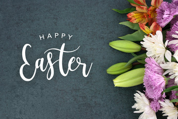Spring Season Still Life With Happy Easter Greeting Holiday Script
