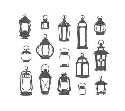Set of 15 retro lanterns. Doodle illustration