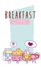 Cute breakfast ingredients kawaii cartoon