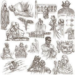 Religion, Spirit Life, Religious - An hand drawn collection on white background.