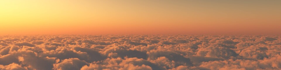 heaven, sunset over the clouds 3D rendering