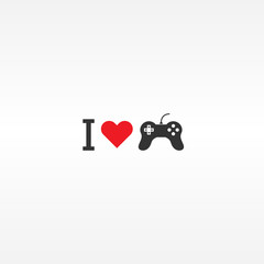 Minimal style I love gaming vector illustration with red heart and black controller icon. Graphic design for gamers.
