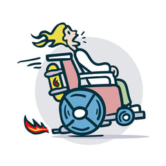 Person on a wheelchair moves quickly