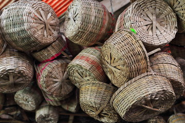 Woven bamboo baskets in a market stall. Bacolod-Negros Occidental-Philippines. 0264