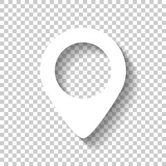 map label icon. White icon with shadow on transparent background