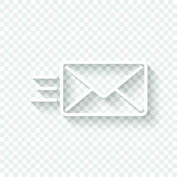 send mail icon. sms line. White icon with shadow on transparent background