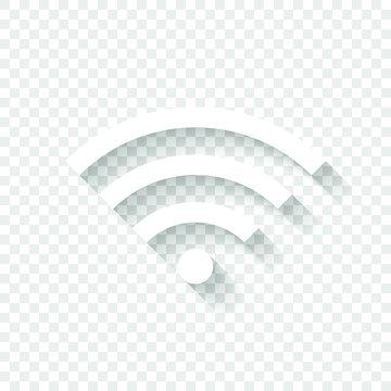 wi-fi icon. White icon with shadow on transparent background