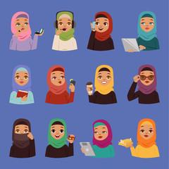 Muslim religious arabic vector adult women in traditional islamic hijab dress. Cute cartoon arabic girls traditional dress ethnicity religious people. Business arabic women portrait beautiful hijab