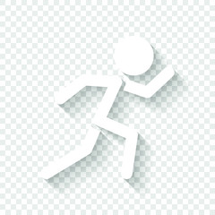 running man. simple icon. White icon with shadow on transparent background