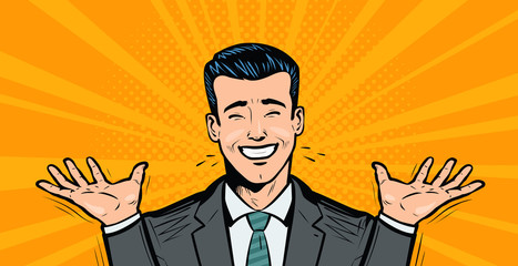 Happy businessman or student rejoices at success. Business concept. Cartoon in pop art retro comic style, vector illustration